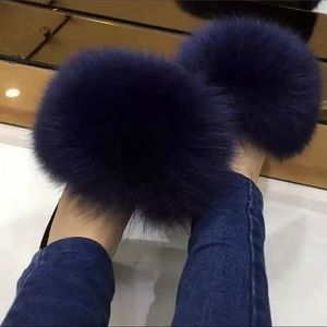 Shoes - Real Fox Fur Slides Shoes Slippers Purple 11 / 12
